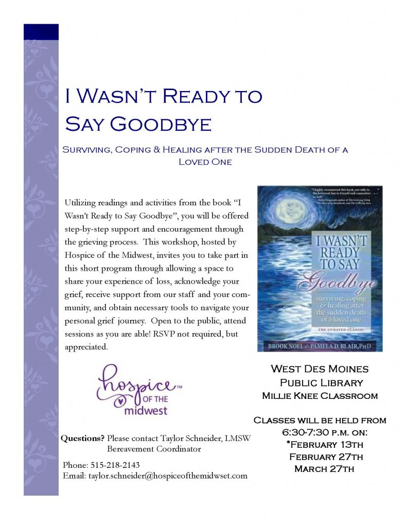 I Wasn't Ready to Say Goodbye Workshop Flyer