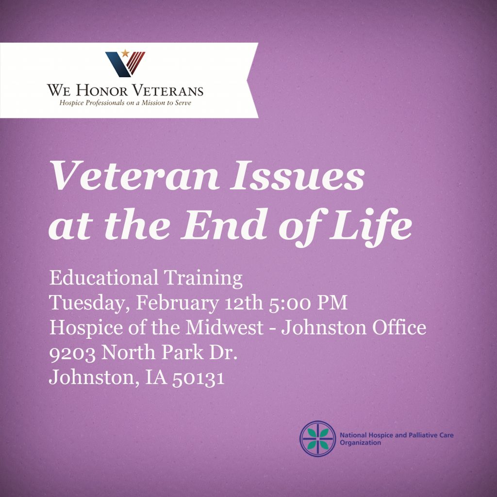Join our Johnston, AI office for educational training that Veterans face at the end of life purple flyer
