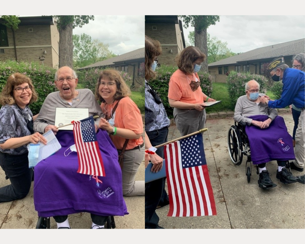 photo collage of Veteran Richard posing with his twin daughters and receiving his pin