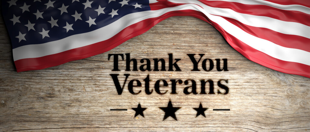 United States flag with thank you veterans message. Wooden background. 3d illustration