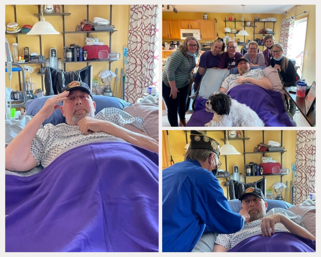 photo collage of Veteran Al receiving his pin, saluting, and posing with his wife, care team, and dog