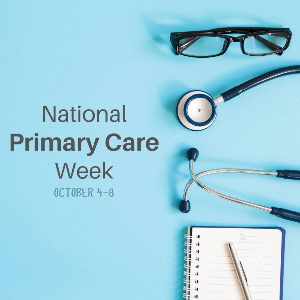 Blue background with glasses, stethoscope, tablet, pen, and the words National Primary Care Week October 4-8