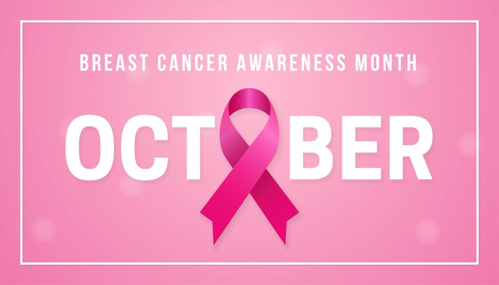 Light pink background with words breast cancer awareness month and October with a dark pink ribbon