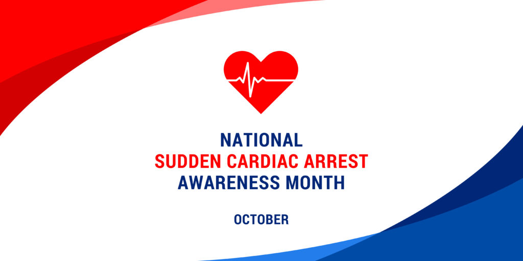 Red heart and the words National Sudden Cardiac Arrest Awareness Month/October on a red, white, and blue background